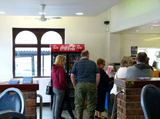 Jolly Fryer: From the seated area looking in to the fish shop.