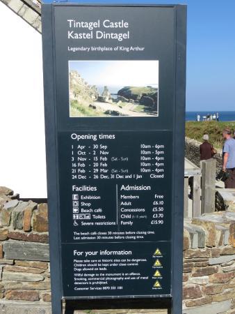 Tintagel Castle: Price of admission