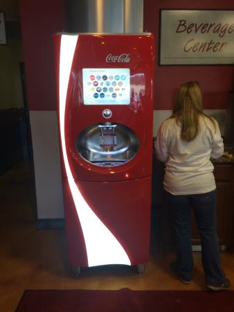 Red Brick Pizza Cafe: The super coke machine with 100+ flavors. Also sweet and unsweet teas. Bottled water and other o
