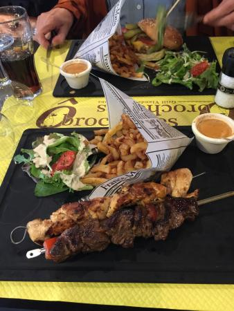 O Brochettes: Chicken and beef skewers with amazing fries , side sauce to die for and salad.