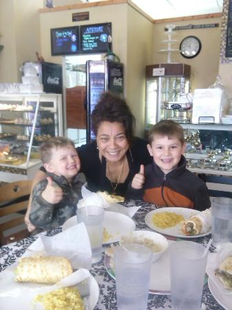 Nawal's Mediterranean Eatery: Our boys giving the thumbs up to Nawals Kofta!