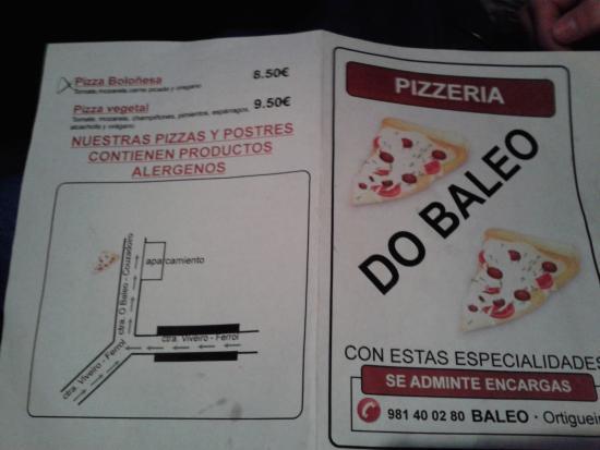 Pizzeria O Baleo: mitad de carta con datos