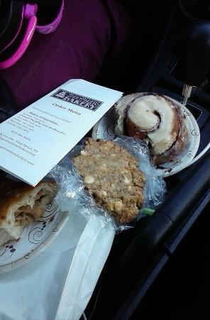 Sticky Fingers Bakery: Cinnamon bun, white chocolate chip cookie, apple turnover YUM!