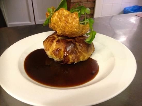 Blue Ball Restaurant : Pork Wellington. Belly of pork with Apple and sage encased in puff pastry with calvados sauce
