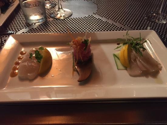 Pee Wee's at the Point: A trio of various cured fish.
