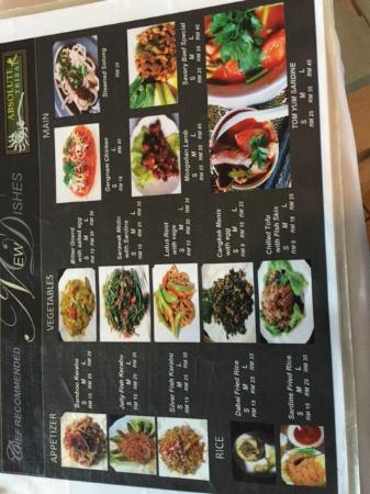 Absolute Tribal : Local Dishes Menu