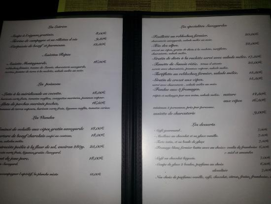 Restaurant L Alpin Annecy Menu
