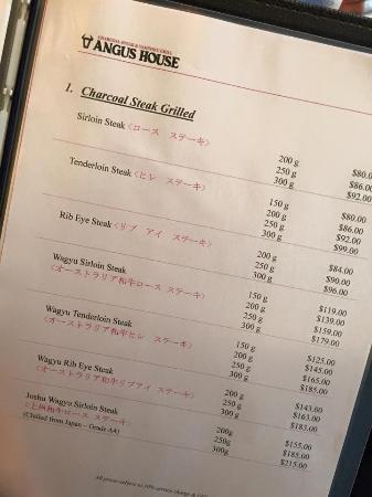 Angus Steakhouse: Steak menu