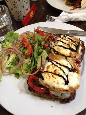 Loaves and Fishes: Open sandwich with goats cheese and roasted Veggies!