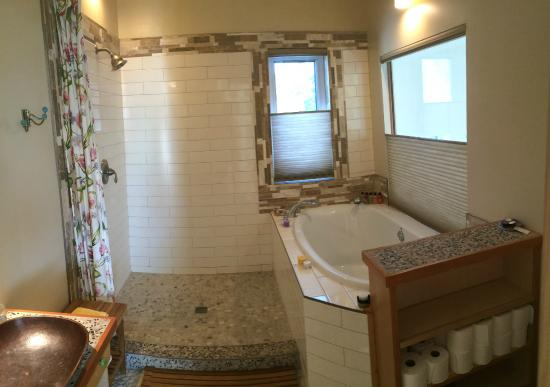Large Open Shower And Deep Soaker Tub