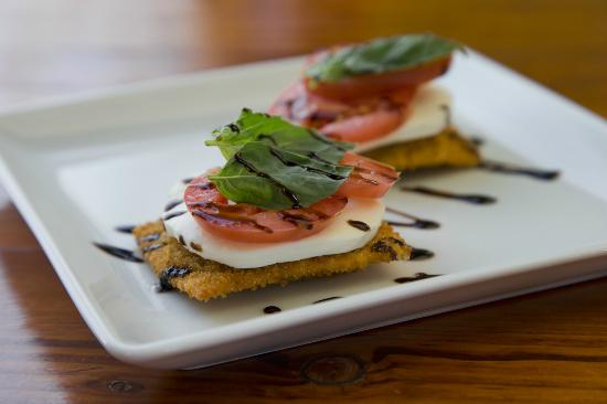 Montanya Distillers: Fried Colorado-made Ravioli with Mozz, Basil, Tomato and Balsamic Reduction
