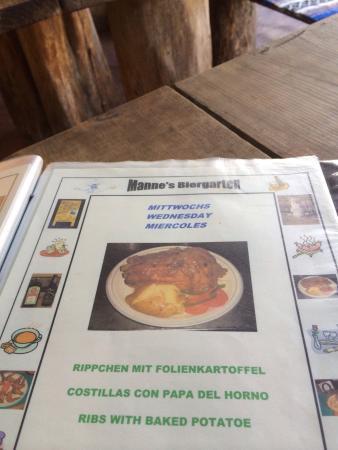 Manne's Biergarten: Menü