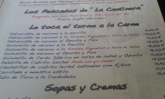 Carta Picture Of Nou Arcos Los Arenales Del Sol Tripadvisor