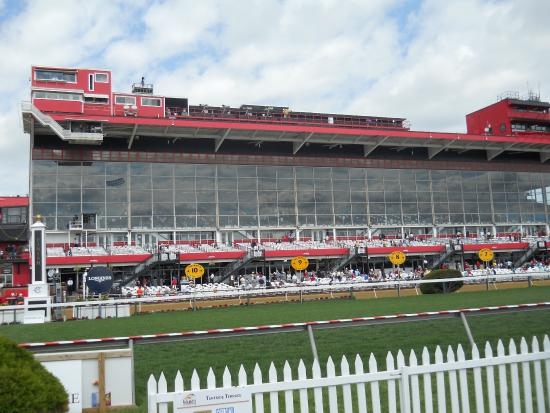 Pimlico Race Course: Grand stand seen from the Turfside Terrace.
