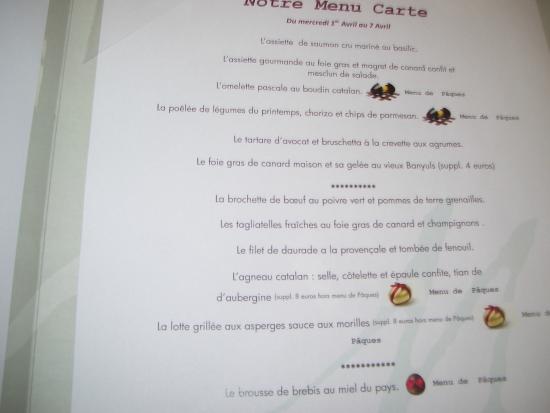 Le Mas des Arcades : MENU DE PAQUES à l'entrée de la salle du restaurant
