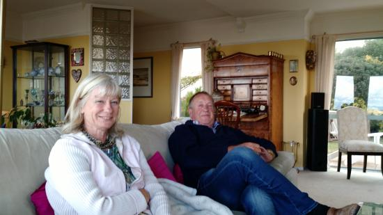 A Great View: Our wonderful hosts, Bettina and Neville!