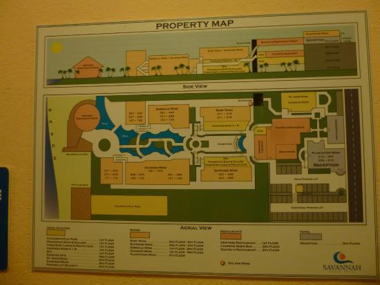 Savannah Beach Hotel map - it looks very disjointed but  the grounds were pretty well laid out.