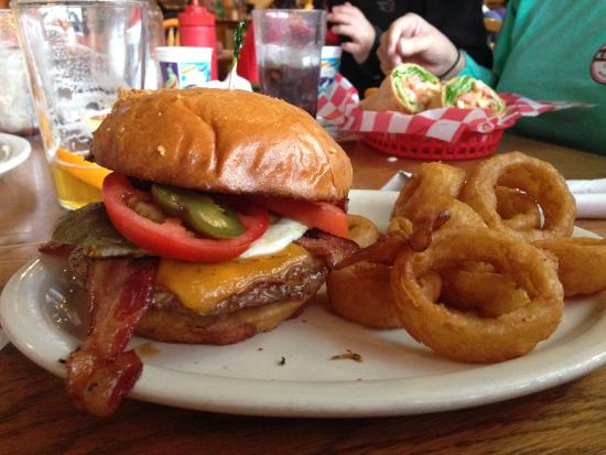 Haywood Cafe: Jalapeno bacon cheeseburger with avocado and a Fried egg!!!