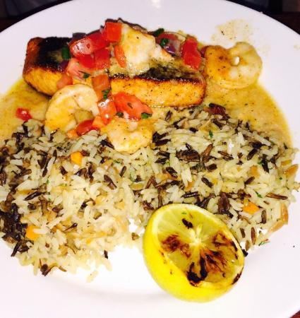 Red Lobster: Salmon New Orleans and wild rice. Yum
