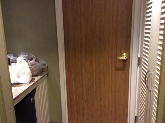 "Courtyard Ithaca Airport/University: Little ""kitchen"" area plus closet and closed bathroom door"