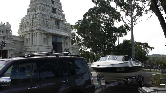 Sri Venkateswara Temple: Front view with my new boat