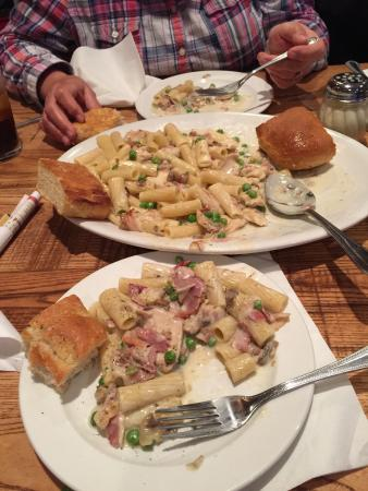 Giordano's: Chicken Carbonara Pasta. Very large and delicious.