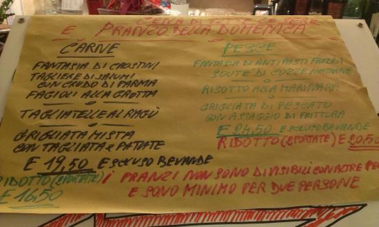 Osteria Grotta Rossa: menu