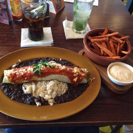Las Iguanas: The veggie enchilada and sweet potato fries