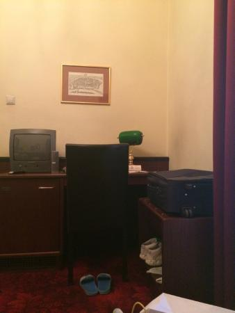 Hotel Furstenhof: small desk and small TV but I was busy visiting