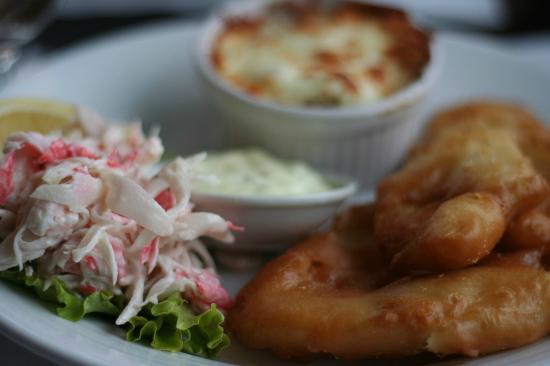 Restaurant Poissonnerie Escoumins: Le fish & Chips qui pisse le gras, à la pêcherie Manicouagan