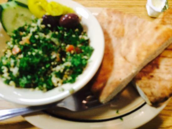 Wonderfully flavored Toubouli Salad with warm fresh pita bread ...