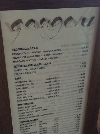Gangehi Island Resort: Precio de las bebidas (no incluidas en pensión completa)