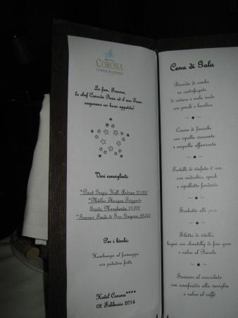 Hotel Corona La Magia dei Cristalli : menu della cena di gala (ogni settimana)