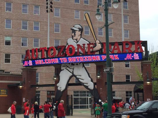 AutoZone Park: Updated front entrance sign