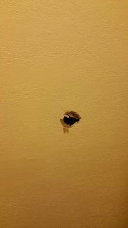 Travelodge Suites Virginia Beach Oceanfront : Hole behind door in bathroom.