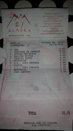 Restaurante Alaska: La cuenta