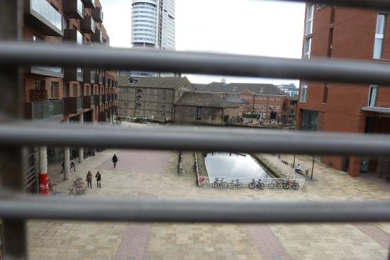 Victoria Leeds: view on train station of lovely wharf water area qwerky places to drink etc