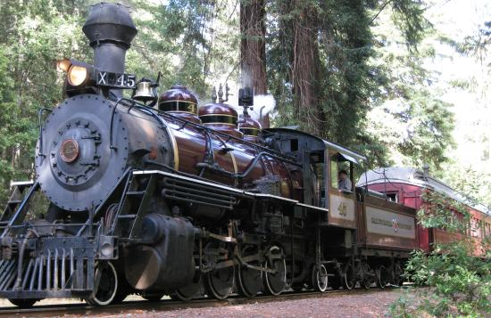 Fort Bragg, Californië: The Super Skunk ready departing Northspur Station
