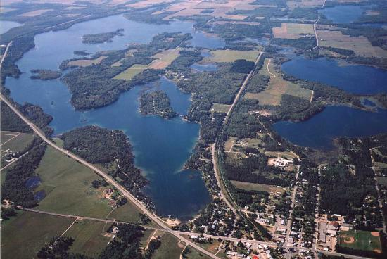 Nevis Mn Aerial Of Lake Belle Taine