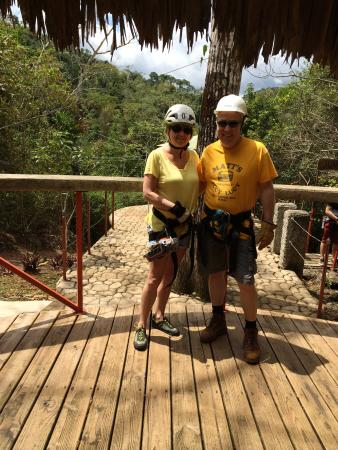 Calico Jack's Belize Jungle Canopy and Zip Lining: On the first platform, ready to zip!