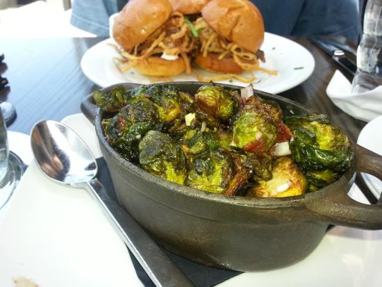 reunion kitchen drink brussels sprouts with maple syrup and bacon - Reunion Kitchen