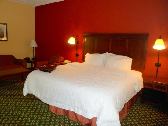 Hampton Inn Louisville-Northeast: Large and comfortable bed albeit with very soft, easily flattened pillows.