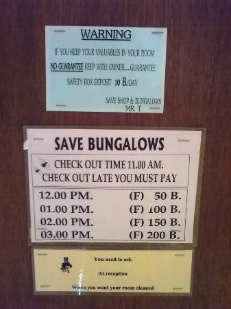 Save Bungalows: message