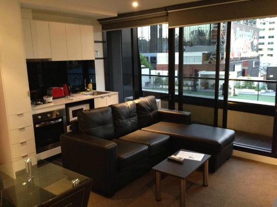 Aura On Flinders Serviced Apartments Lounge Kitchen