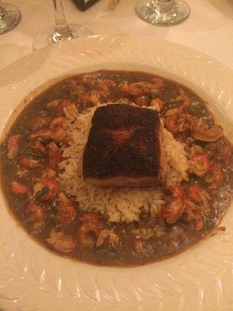 Louisiana Purchase : Blackened Fish Bourbon Street Topped w/ sauté crawfish tail meat