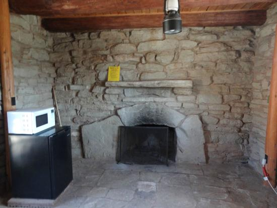 Inside cow cabin- microwave and mini-fridge - Picture of Palo Duro ...