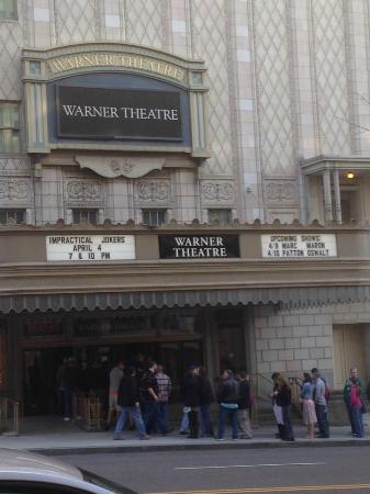 Warner Theatre view from across the street outside.