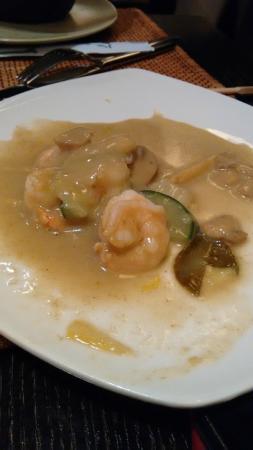 Yuan Restaurant: gamberi al curry verde