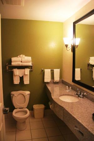 Sleep Inn Emporia: Clean, well set up bathroom, including a bathtub,odd for newer Sleep Inns
