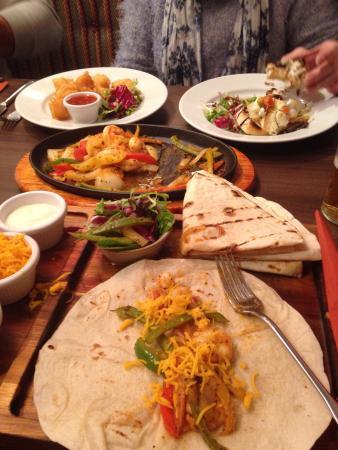 Oscars: King prawn fajitas, prawn tempura and goats cheese bruschetta